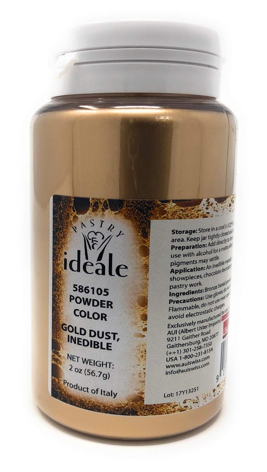 Pastry Ideale Gold Dust 1 Use this inedible metallic powder for decorative pastry work, wedding cakes, showpieces, and al... 2 ounce/56 gram container Size: 2 oz