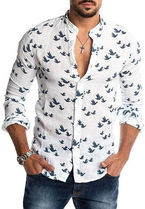 YFSLC-Studio Camisa De Manga Larga Hombre,Impresión Blanca Moda Casual De Hombres Camiseta con Cuello En V Botón Pulsado Slim Fit Cómodos Breasted Único Manga Larga Camisetas Oficiales: Amazon.es: Deportes y aire libre