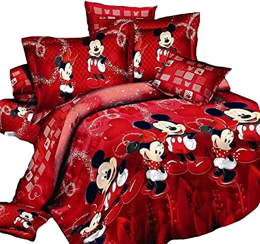3D Disney Red Mickey Mouse Cotton Bedding Set Duvet Cover Quilt Cover Pillowcase