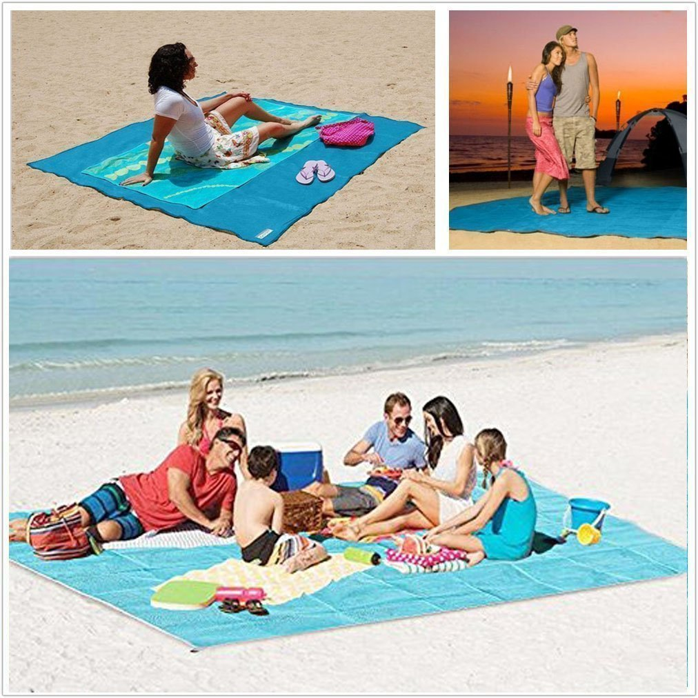 None Sand Free Beach Mat - Ultra Lightweight Sand Proof Free Beach Mat, Waterproof Portable Sandless Blanket for Summer Beach, Picnic, Hiking, Outdoor (200200cm, Green) by None