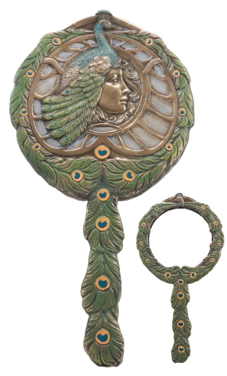 Ebros Faux Bronze Beautiful Egyptian Queen Cleopatra With Peacock Headdress Hand Mirror 11.25''Tall Art Nouveau Figurine Vanity Decor