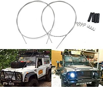 1:10 RC Cuerda de acero Rock Crawler Alambres de bonete Protectores de parabrisas Alambre de acero SCX10 90046 TAMIYA CC01 RC4WD D90 D110 TRX-4 ...