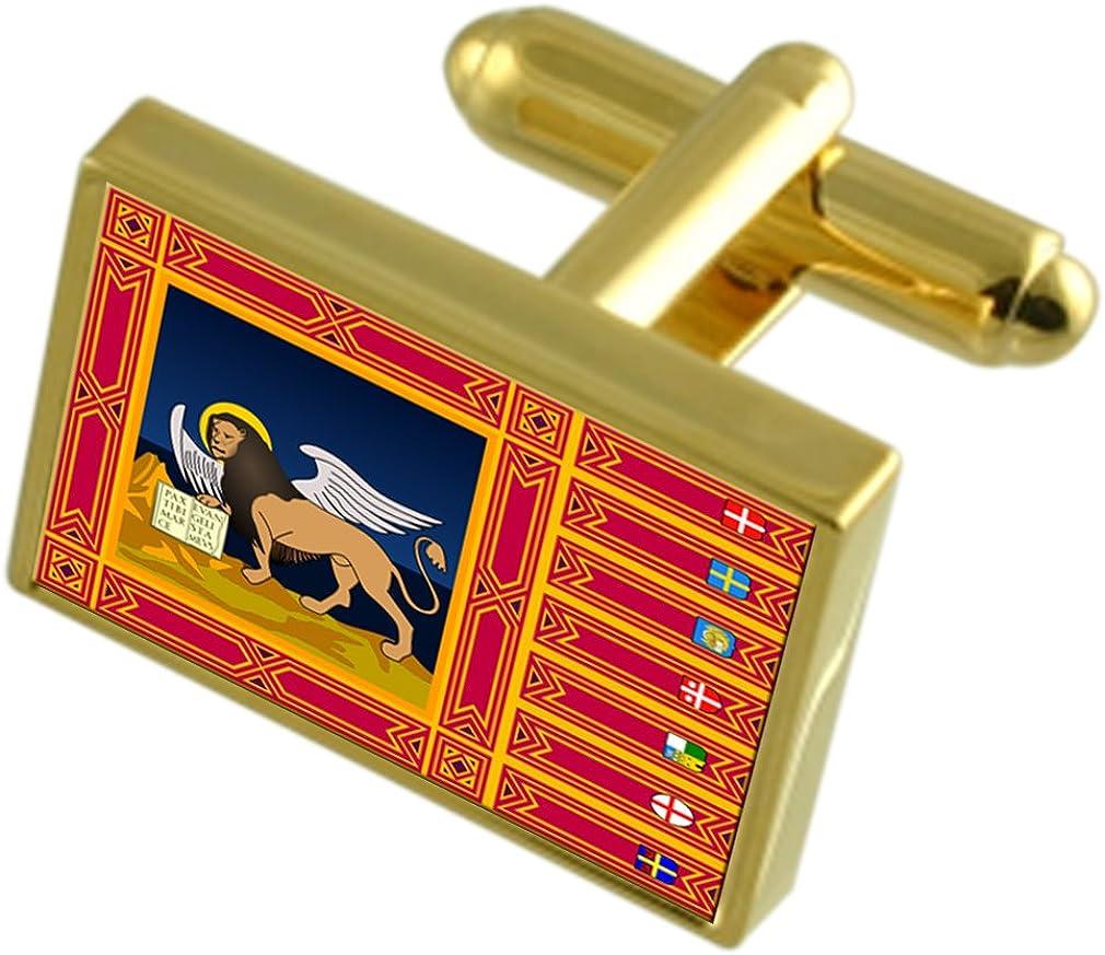 Veneto Region Italy Gold-tone Flag Cufflinks Engraved Box