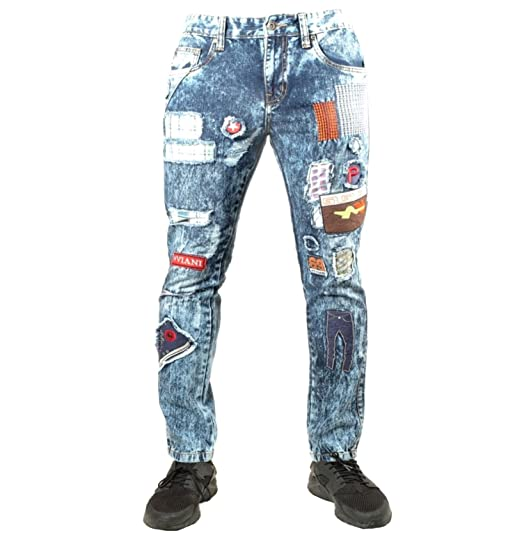 peviani mens jeans patches g star denim pants straight fit hip hop