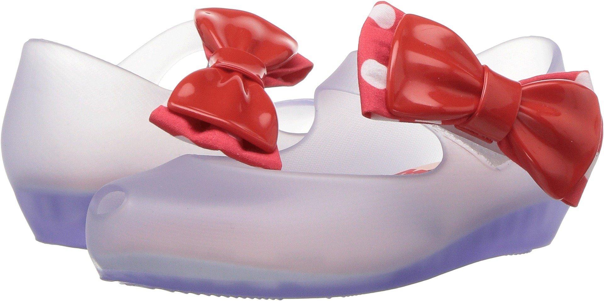 Mini Melissa Girls' Mini Ultragirl + Minnie Ballet Flat, Clear Glass Red, 12 Medium US Little Kid by Mini Melissa