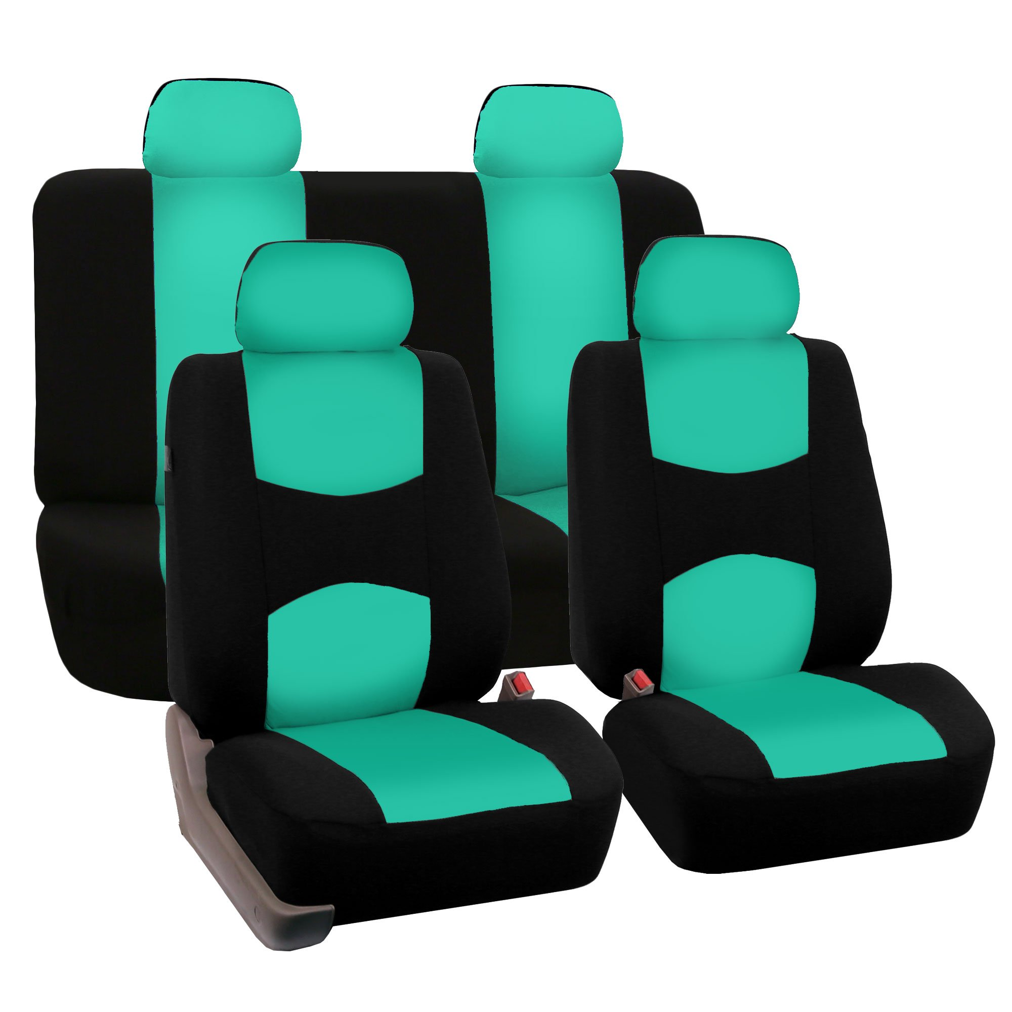 FH Group Mint FB050MINT114 Flat Cloth Fulls Set Seat Covers (w. 4 Detachable Headrests and Solid Bench) by FH Group