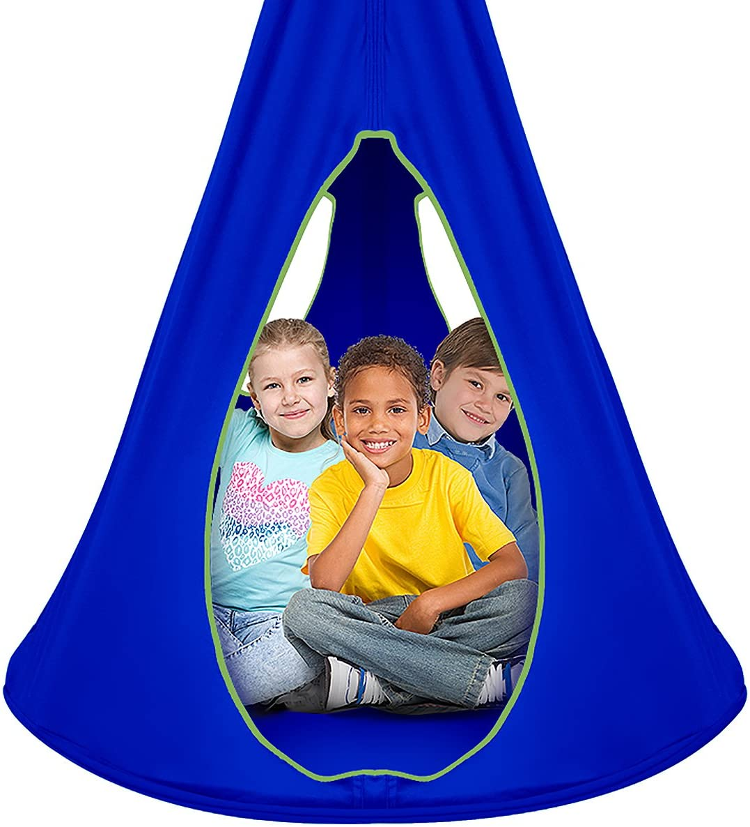 Sorbus Kids Nest Swing Chair Nook Hanging Seat Hammock for Indoor Outdoor Use Great for Children 40 Inch, Nest Blue
