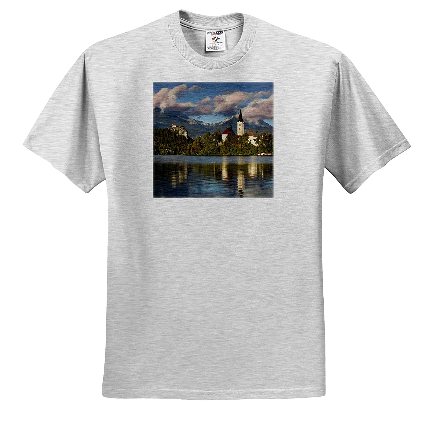 St ts/_313882 Slovenia Adult T-Shirt XL Slovenia Marys Church on Bled Island with Bled Castle 3dRose Danita Delimont