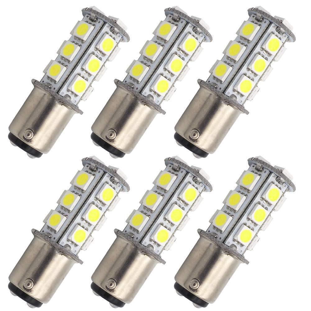 GRV Ba15d 1142 High Power Car LED Bulb 18-5050SMD AC/DC 12V-24V Cool White Pack of 6