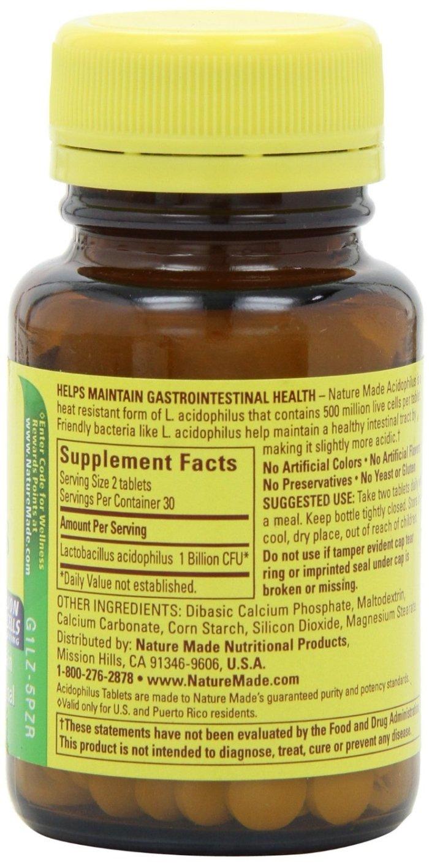 Nature Made Acidophilus Probiotics Tablets 60 ea (Pack of 10)