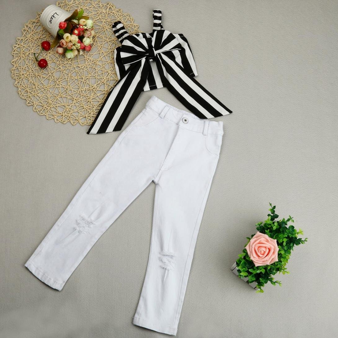 Jchen TM Kids Girls Hole Trousers Striped Bow T Shirt Summer Clothes Outfits Set for 1-7 Years Old