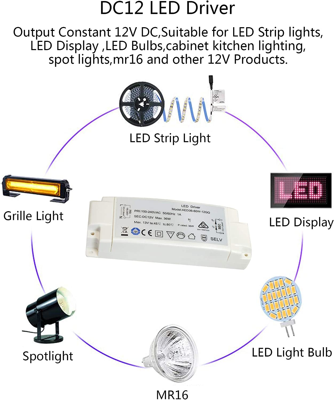 MR11 Bombilla LED MR16,1 Paquete. Abishion LED Transformador 24W 12VDC,Fuente de Alimentaci/ón Del Controlador LED,Para Tiras de luces LED y G4