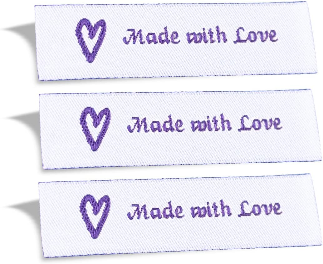 Wunderlabel Made with Love Crafting Craft Art Fashion Woven Ribbon Ribbons Tag for Clothing Sewing Sew on Clothes Garment Fabric Material Embroidered Label Labels Tags, Purple on White, 25 Labels