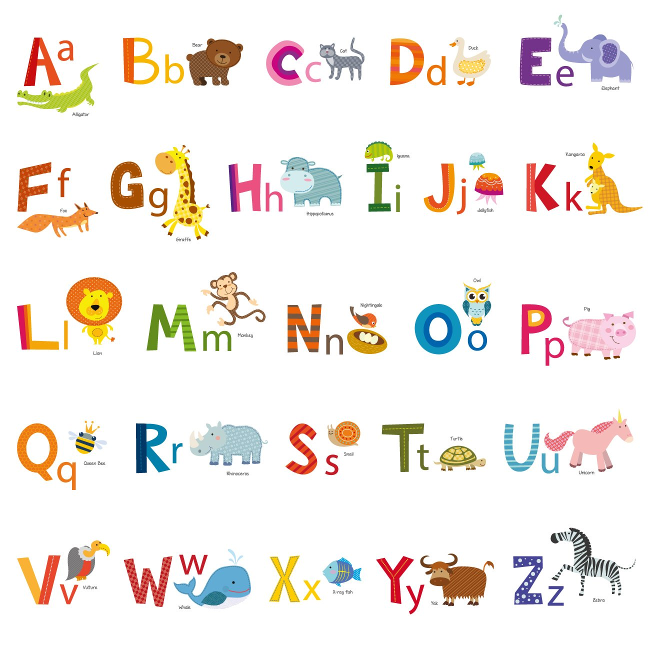 Decowall DA-1503A Animal Alphabet ABC Kids Wall Decals Wall Stickers Peel and Stick Removable Wall Stickers for Kids Nursery Bedroom Living Room
