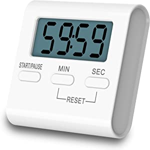 Kissarex Digital Kitchen Countdown Timer: Teachers Classroom Counter Large LCD Loud Magnetic Clip Kids Simple Clock Mini Small Stopwatch Big Beeper Minute Hour Seconds Cooking Giant Alarm Count Up