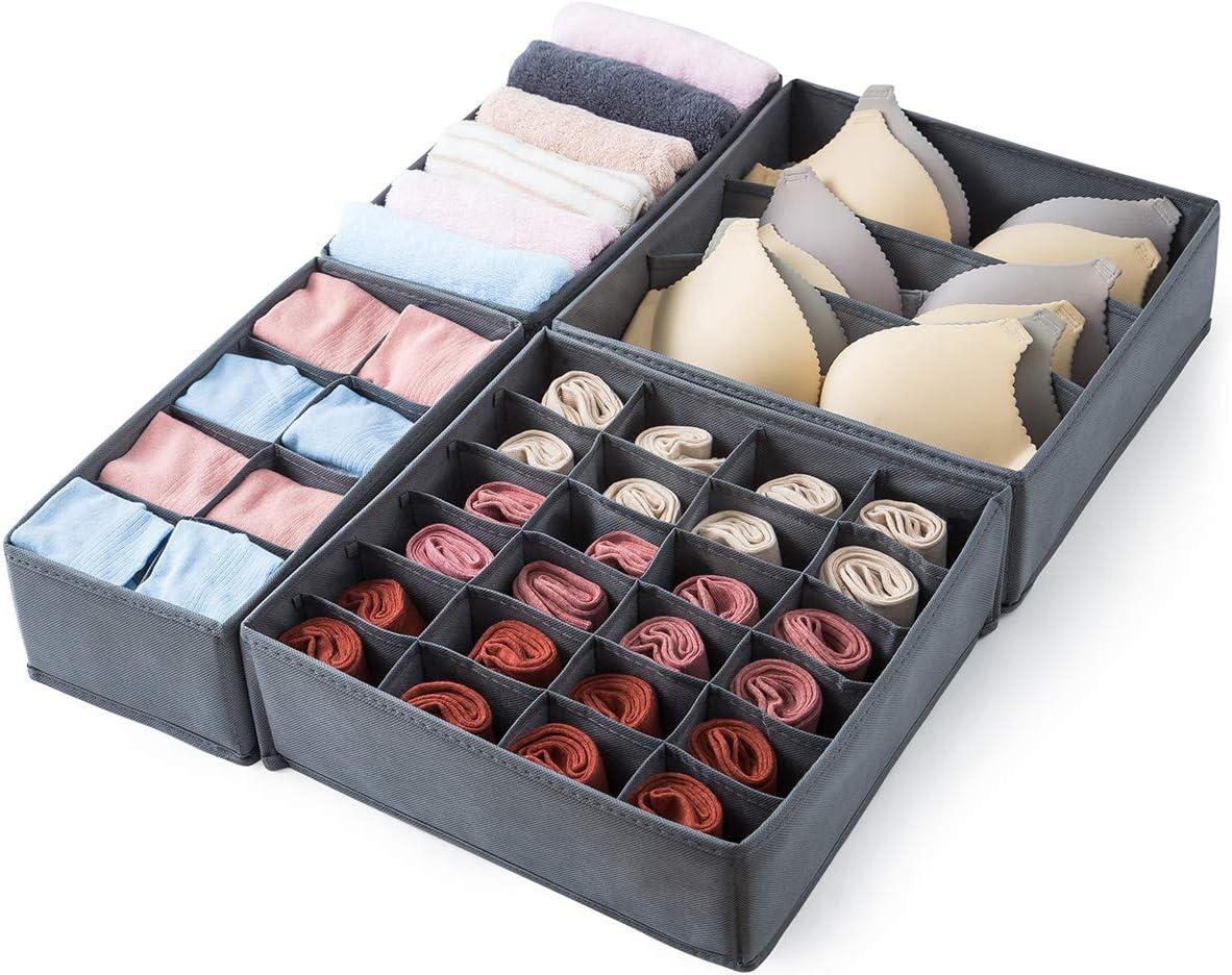 3pcs Foldable Drawer Organizer Divider Closet Storage Box For Underwear Bra Sock
