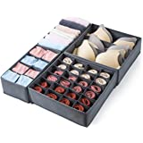 Qozary 4 Pack Foldable Drawer Organizers, Sock and Underwear Drawer Organizer Clothes, Desk Closet Fabric Organizer and Stora
