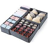 Qozary 4 Pcs Foldable Drawer Organizer, Desk Closet Organizer and Storage Drawer Dividers for Underwear Bra Socks(Gray)