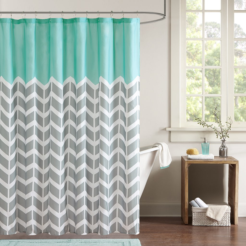 Teal And Grey Shower Curtain | Home Decor