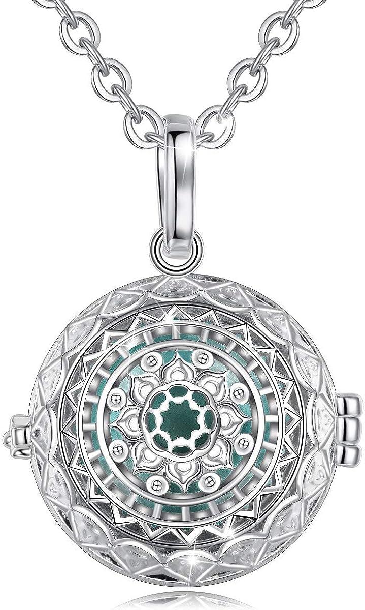 EUDORA Harmony Ball Collar de Loto Colgante Llamador de Angeles Collar de Bola de Sonido, Bisutería Mujer Regalos Originales para Mujer (20mm, 76,2cm + 114,3cms)