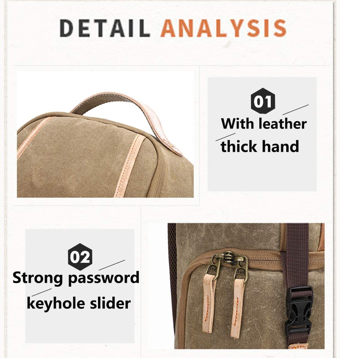 Canvas Vintage for Nikon Canon Sony with 2 Compartments and Tripod Small,Khaki OLDFAI Camera Backpack Sling Over Shoulder Waterproof Anti-Theft Backpack for Mirrorless