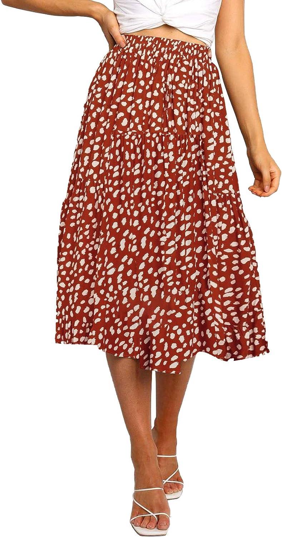 MEROKEETY Womens Elastic High Waist Leopard Print Polka Dot A-Line Swing Midi Skirt