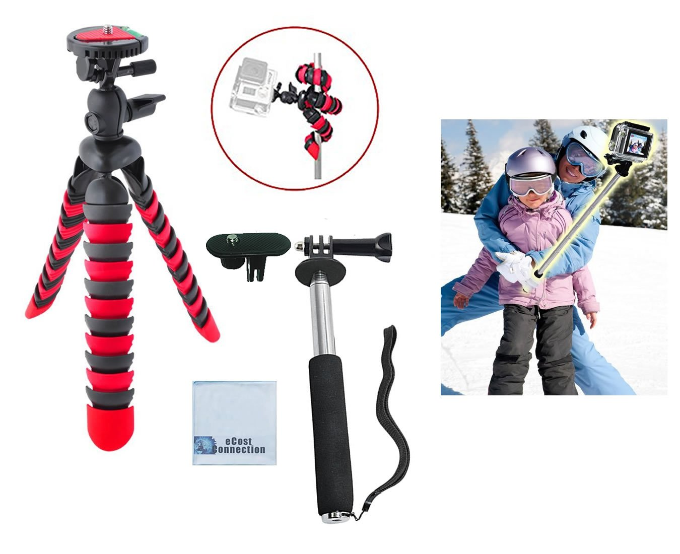 12' Inch Flexible Tripod w/ Flexible wrapable Disc Legs Red & Black with Quick Release Plate + Extension Pole 8.5' - 43' Inches (3.6 Feet) for GoPro Hero1, Hero2, Hero3, Hero3+ & Hero4 Cameras + Ecost Connection Microfiber Cloth TRIPODS
