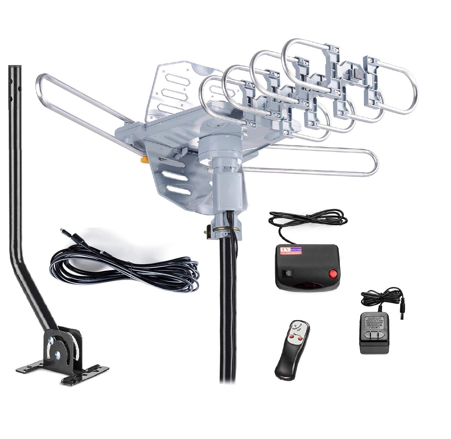 McDuory Outdoor 150 Miles Digital Antenna 360 Degree Rotation Amplified HDTV Antenna -Support 2 TVs-UHF/VHF/1080P/4K - Infrared Remote - 40ft RG6 Cable and Mounting Pole Included by McDuory
