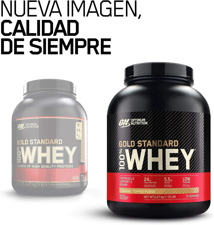 Optimum Nutrition Gold Standard 100% Whey Proteína en Polvo, Glutamina y Aminoácidos Naturales, BCAA, Toffee Fudge de Caramelo, 73 Porciones, 2.27kg, ...