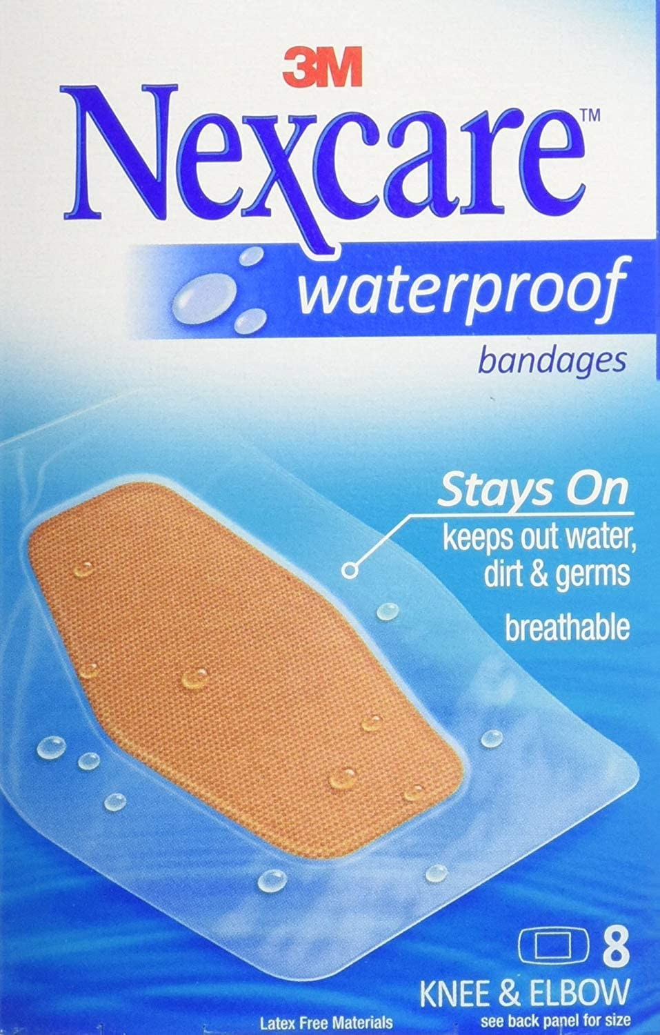 Nexcare Waterproof Stays On Bandage, Knee and Elbow, 8 Bandages per Box (4 Pack)