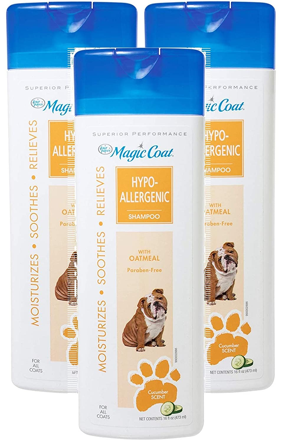 Magic Coat 3 Pack of Hypo-Allergenic Shampoo for Dogs, 16 Ounces Per Bottle