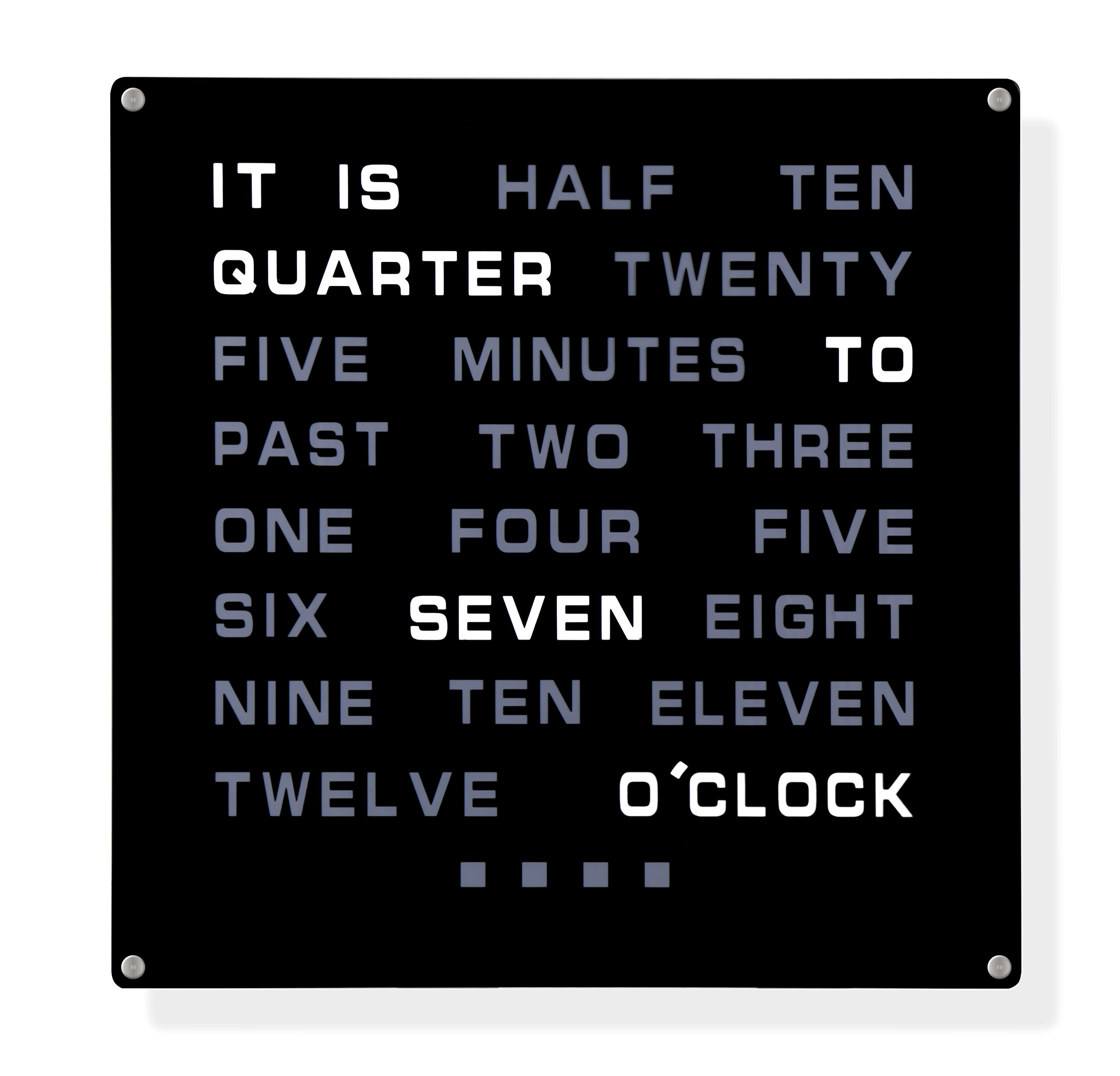 LED Wall Word Clock 12'' x 12'' - Displays Time As Text by Tech Tools