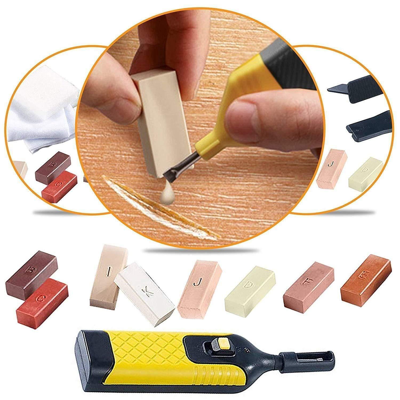 TAHA /® 19pc Laminate Floor//Worktop Repair Kit Wax System Sturdy Chips Scratches