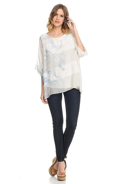 Laura Moretti - Blusa de Seda de Corte Holgado con Rayas horizontales, Estampado en Acuarela