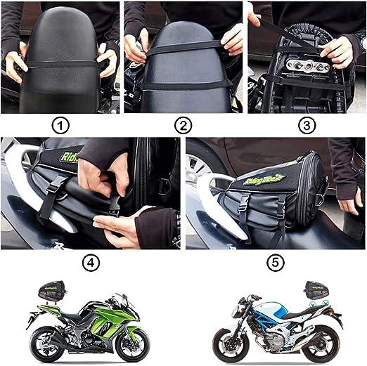 Bolso Viaje Cuero sint/ético para Motocicleta Bolso Equipaje Herramientas Tanque de Combustible Parte Trasera Bolso Impermeable Morral Motociclismo