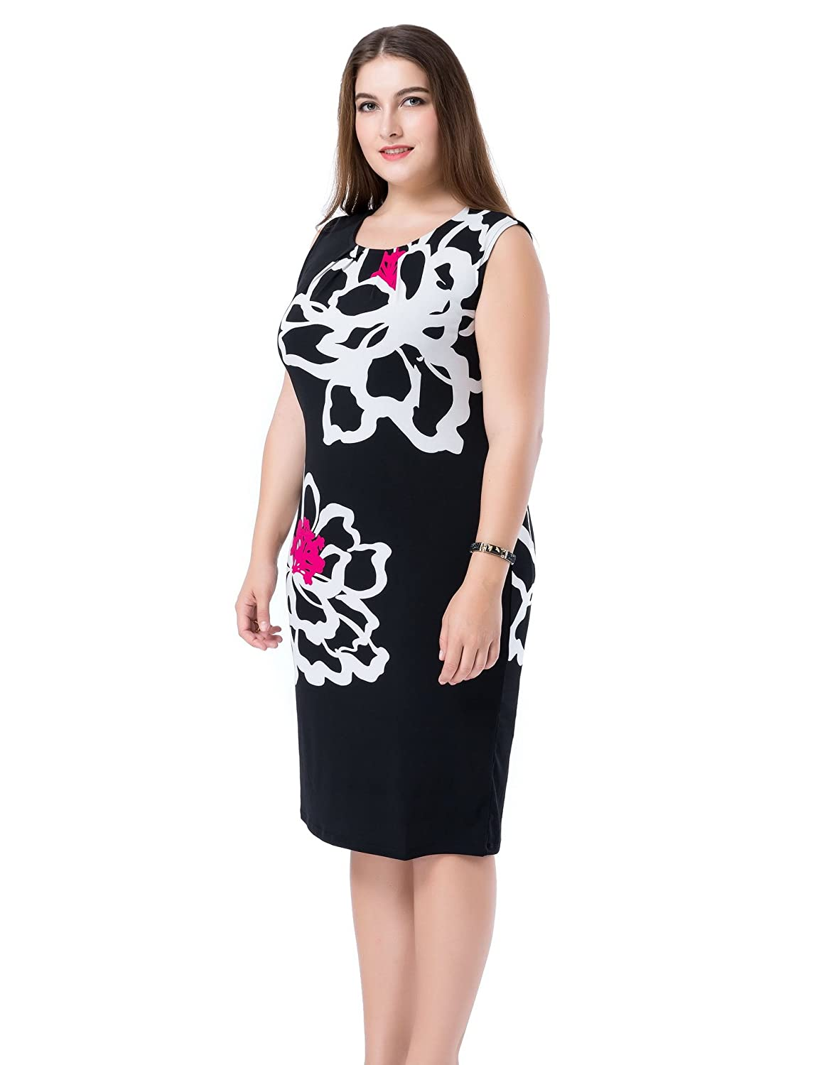 8077c971 Chicwe Women's Plus Size Lined Floral Printed Sleeveless Dress - Knee  Length Work and Casual Dress at Amazon Women's Clothing store:
