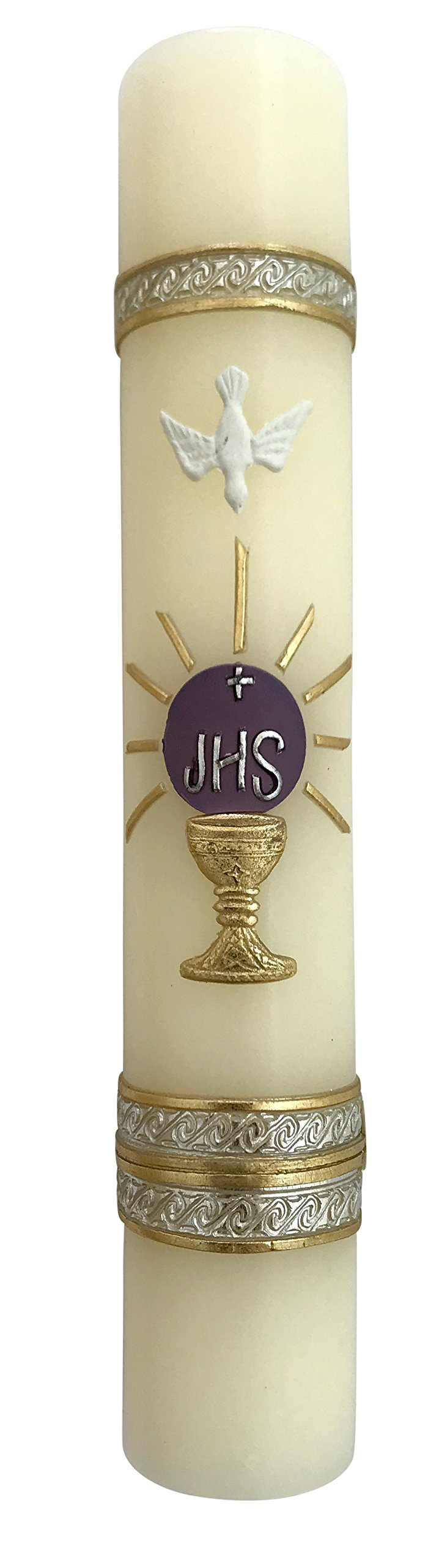 Angelitos de Mexico Purple Monstrance Lent Holy Spirit Candle JHS First Communion Vela Del Espiritu Santo