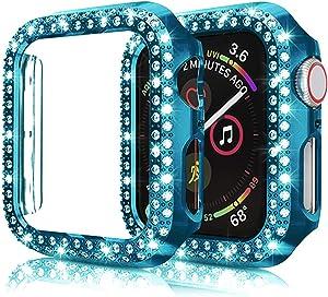 Kamon Watch Case Designed for Apple Watch Series 6, Series 5, 4, 3, 2, 1, Double line Rhinestone Bumper case for Apple Watch 38mm 40mm 42mm 44mm Women Girls (Blue, 40mm)