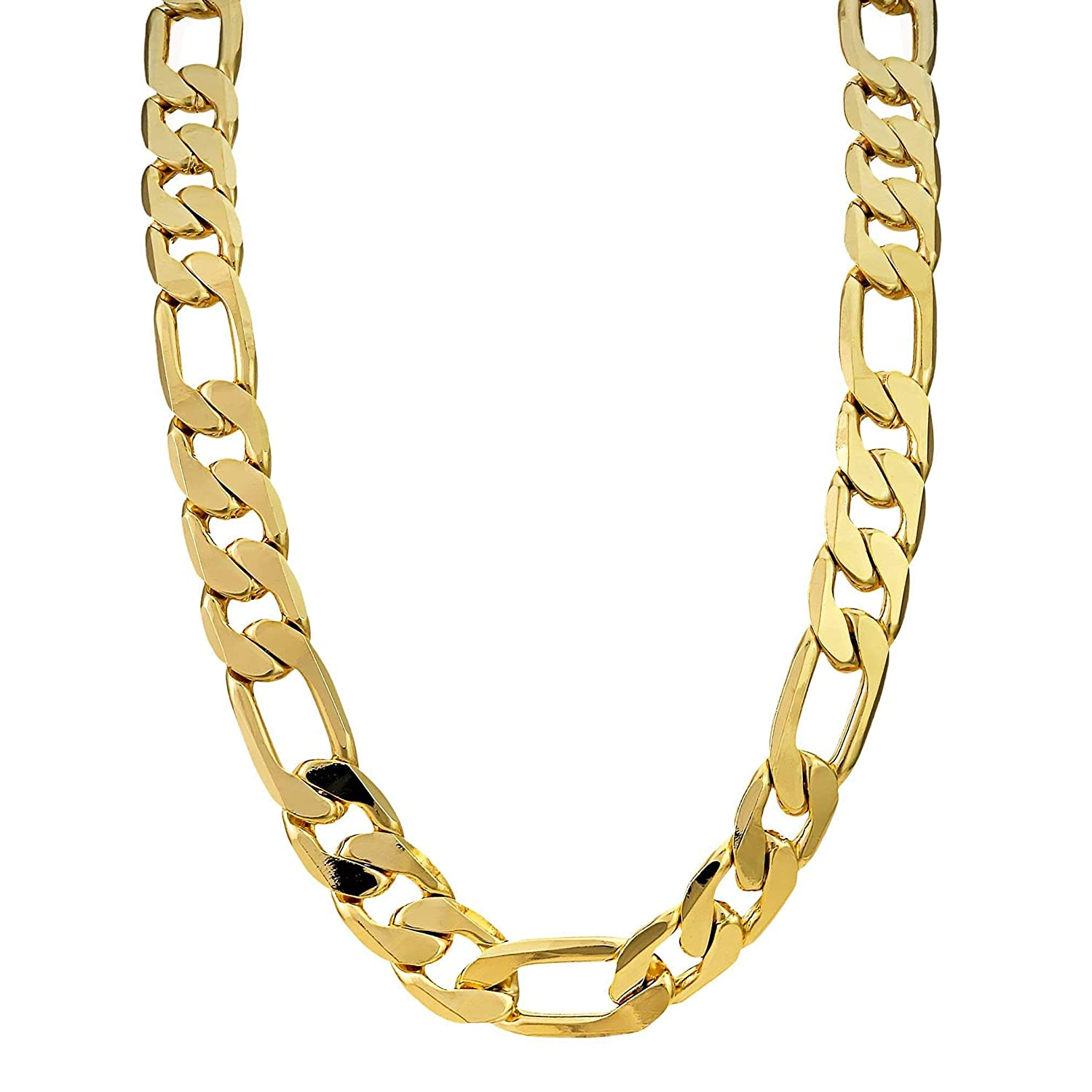 5ff8c14b769f1 THE BLING KING Mens 9ct Gold Filled Figaro Chain Big Heavy Chunky ...