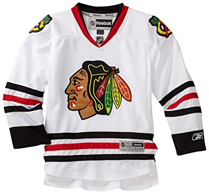 4de978258 Reebok NHL Youth Boys Chicago Blackhawks White Premier Blank Jersey  (Small Medium)