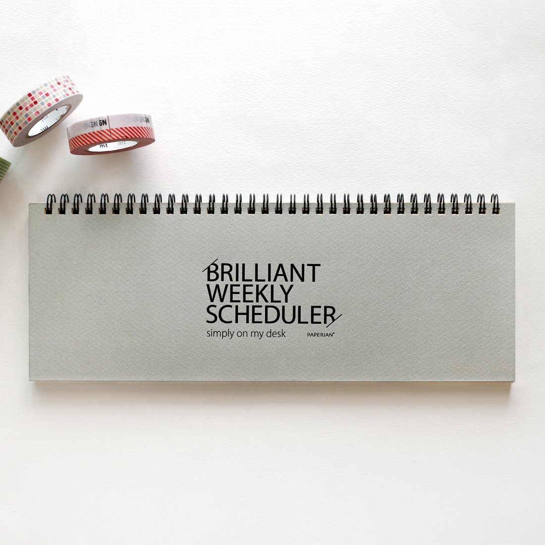 PAPERIAN Brilliant Weekly Scheduler - Wirebound Undated Weekly Planner Pad Scheduler (Gray)