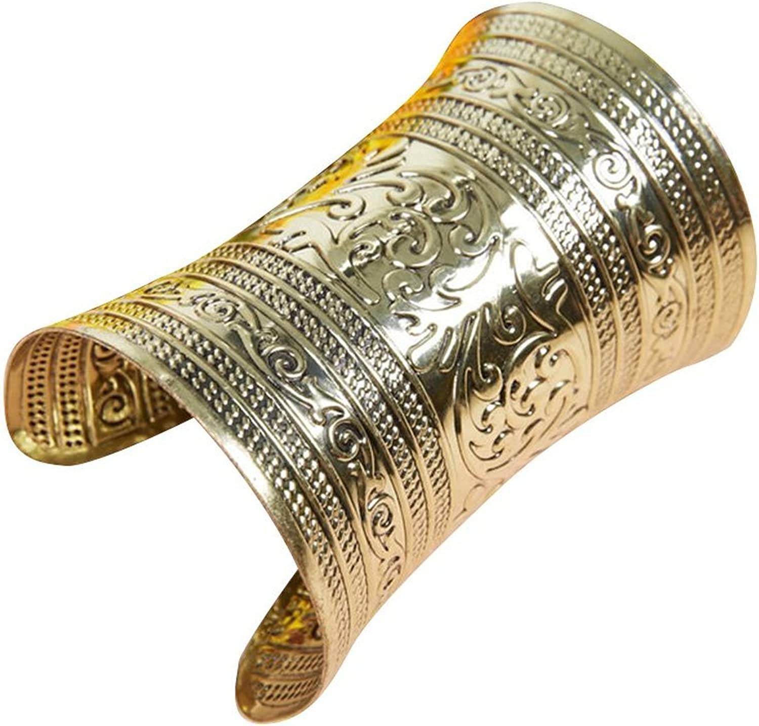AvaCostume Bronze Tribal Gold Cuff Bracelet for Cosplay or Belly Dance