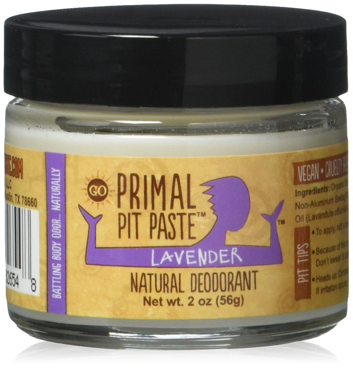 Primal Pit Paste Deodorant, 100% Natural, Aluminum, Paraben Free, No Added Fragrances, Lavender, 2 oz. JAR_LAV