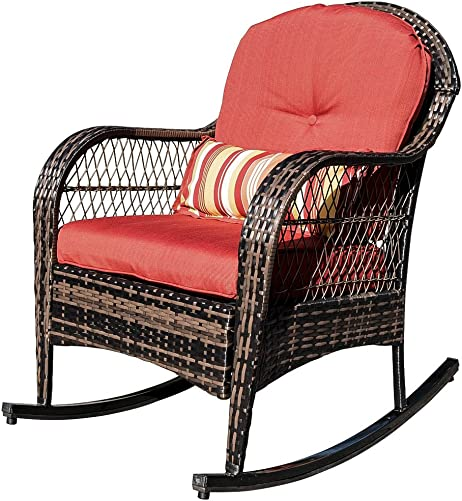 Sundale Outdoor Wicker Rocking Chair Rattan Outdoor Patio Yard Furniture All- Weather with Cushions Lumbar Pillow Red