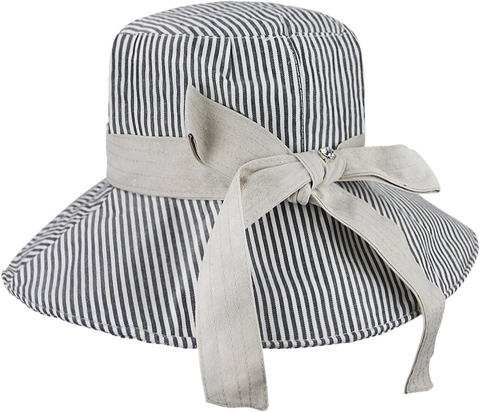 Sonnenhut f/ür Damen M/ädchen Fischerhut Sonnenschutz Strandhut Anti-UV Streifen H/üte Hut Kappe aus Baumwolle