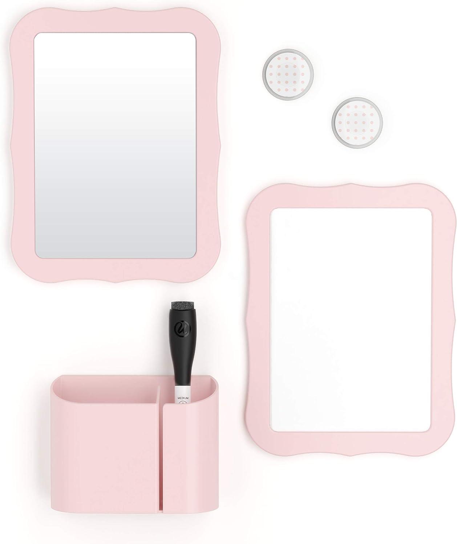 U Brands Locker Accessories Kit, Back to School Essentials, Blush, 6-Piece, Includes Whiteboard, Mirror, and Organizing Supplies