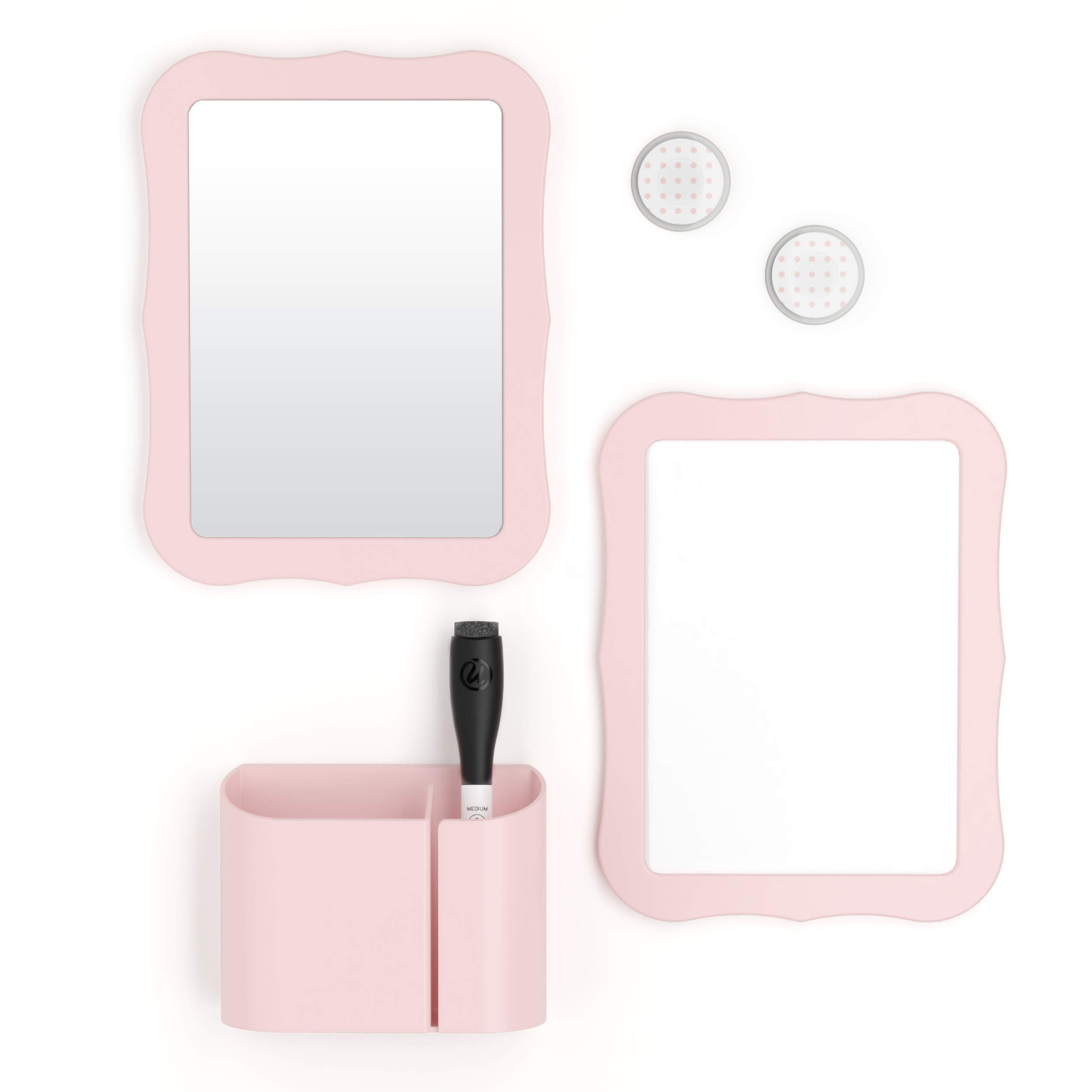 U Brands Locker Accessories Kit, Back to School Essentials, Blush, 6-Piece, Includes Whiteboard, Mirror, and Organizing Supplies by U Brands