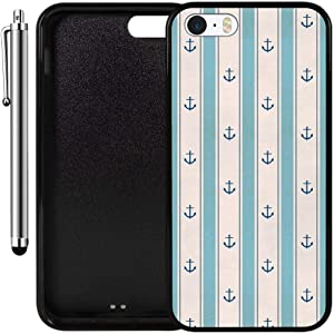 Custom Case Compatible with iPhone SE, iPhone 5S (Anchor Blue Stripes) Edge-to-Edge Rubber Black Cover Ultra Slim | Lightweight | Includes Stylus Pen by Innosub