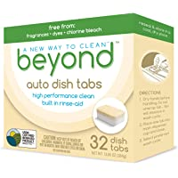 Beyond Natural Auto Dishwasher Tablets - 100% Plastic Free and USDA Certified Biobased - Fragrance & Dye Free (1 Box of 32)