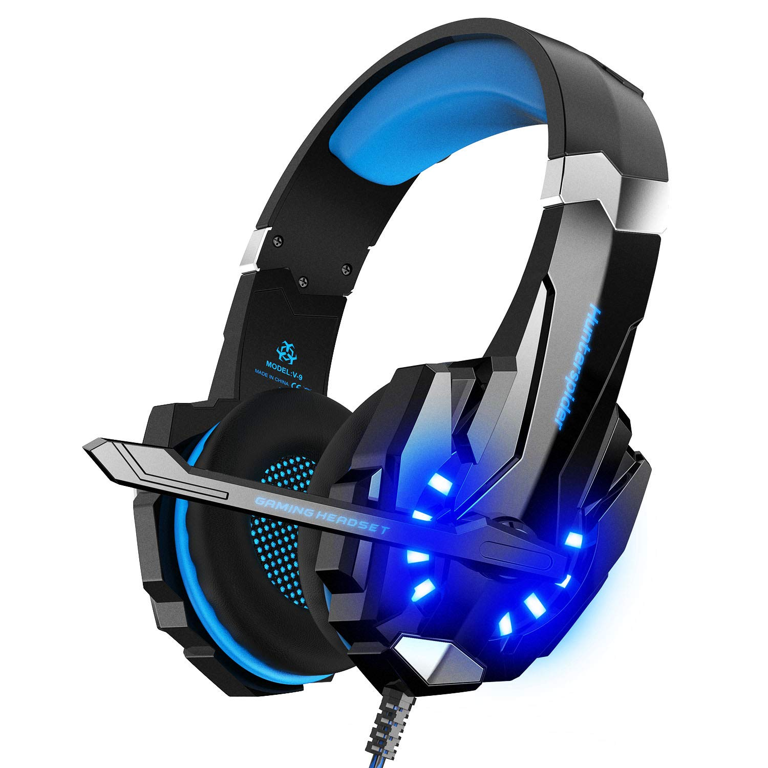 Noise Cancelling Stereo Gaming Headset Over Ear Headphones for PS4 PC Xbox One Controller Mobile Phone Laptop Mac Nintendo Switch Games with Mic LED Light Bass Surround Soft  Memory Earmuffs by Hunterspider
